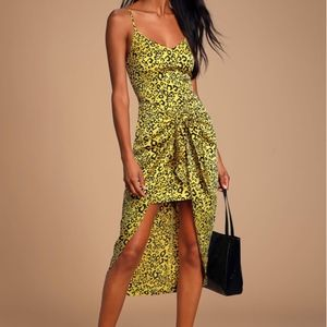 Yellow Leopard Print Satin Tie-Front High-Low Dres